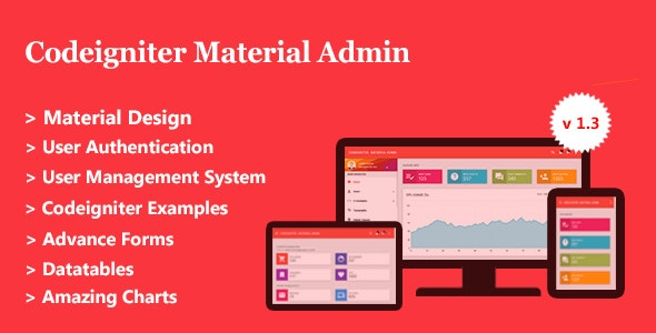 Codeigniter Material Admin + User Management System by codeglamour