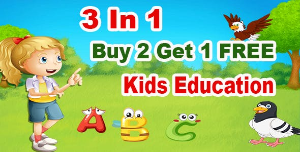 3 In 1 + Best Kids Education Games + Android Studio + Admob