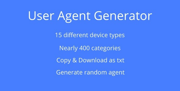 User Agent Generator by thanhdev | CodeCanyon