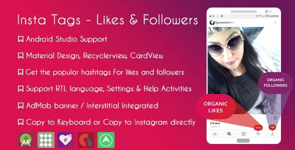 Instagram Hashtags - likes & followers & AdMob + GDPR - CodeCanyon Item for Sale