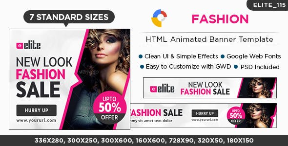Fashion HTML5 Banners - 7 Sizes