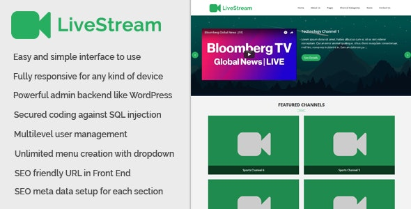 LiveStream - Live Channel and Live Stream Website - CodeCanyon Item for Sale