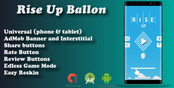 Rise Up Baloon + Admob ( Android Studio ) Easy Reskin