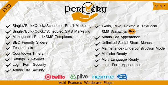 Perfecky Pro - Bulk Email/SMS Sender & Multi Feature WordPress Plugin