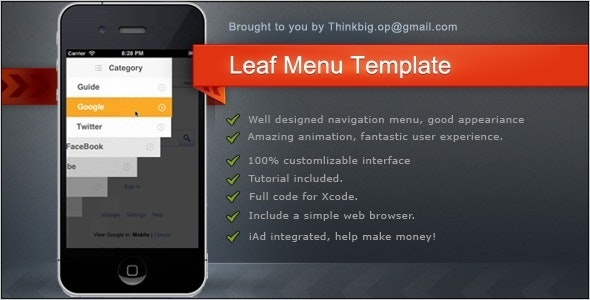 Leaf Menu for iPhone - CodeCanyon Item for Sale