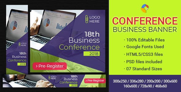 GWD | Business Conference & Events Ad Banners - 7 Sizes
