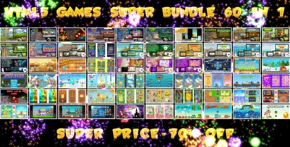 60 HTML5 GAMES!!! SUPER BUNDLE №2 (Construct 3 | Construct 2