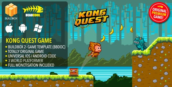 Kong Quest - BuildBox 2 Game Template Document iOS