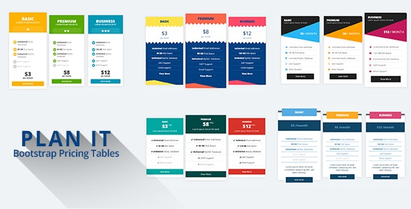 PLAN IT - Bootstrap Pricing Tables - CodeCanyon Item for Sale