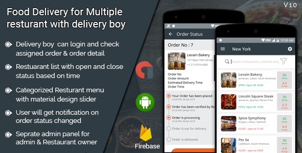 Food Delivery for multiple restaurant with delivery boy android