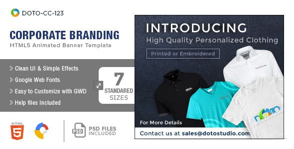 Corporate Branding & Gift Shop HTML5 Banners - 7 Sizes