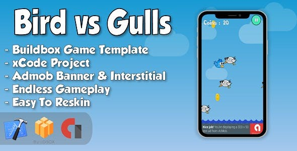 Bird vs Gulls - xCode iOS Project and Buildbox Game Template