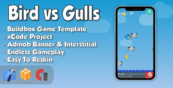 Bird vs Gulls - xCode iOS Project and Buildbox Game Template - CodeCanyon Item for Sale