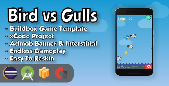 Bird vs Gulls - Android Studio Project & Eclipse Project & Buildbox Game Template - CodeCanyon Item for Sale