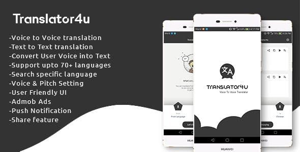 Translator4u (Voice to Voice + Text translator)