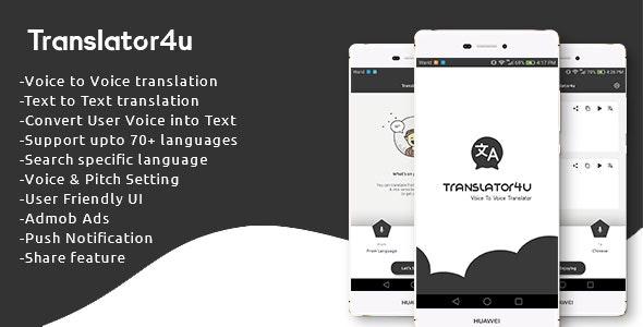 Translator4u (Voice to Voice + Text translator) - CodeCanyon Item for Sale