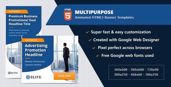 HTML5 Banner Ads - Multipurpose Animated Templates - CodeCanyon Item for Sale