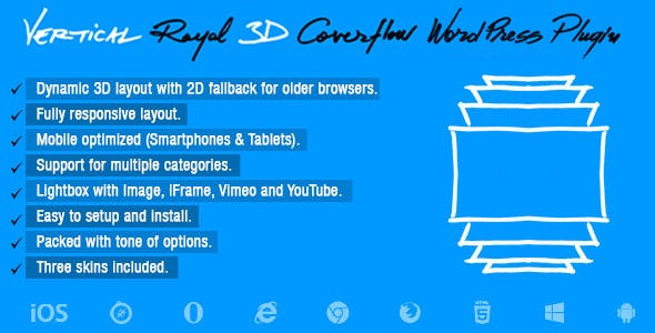 Vertical Royal 3D Coverflow Wordpress Plugin