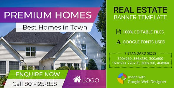 Real Estate   Premium Home Ad Banners - 7 Sizes