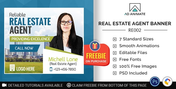 Real Estate Reliable Agent Banner Re002 By Adanimatehelp Codecanyon