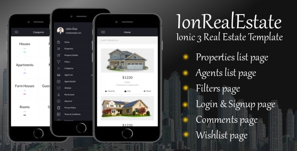 IonRealEstate - Ionic 3 Real Estate Template