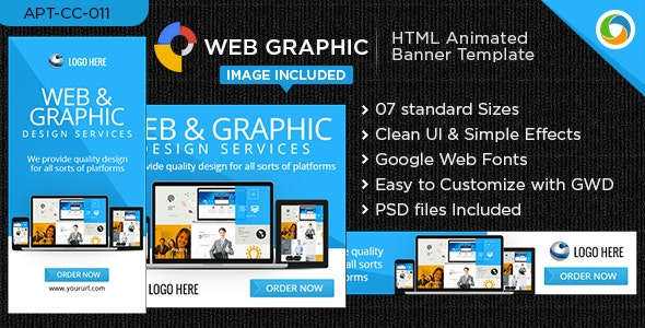 HTML5 Web & Graphic Design Banners - GWD - 7 Sizes - CodeCanyon Item for Sale