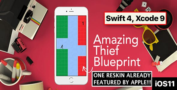 Amazing Thief Blueprint  – One Hour Reskin, iOS 11, Swift 4 Ready