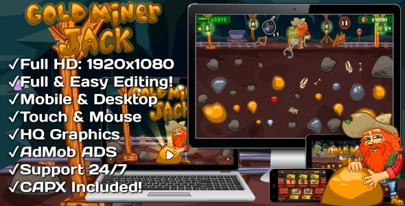 Gold Miner Jack - HTML5 Game 20 Levels + Mobile Version! (Construct 3 | Construct 2 | Capx) - CodeCanyon Item for Sale