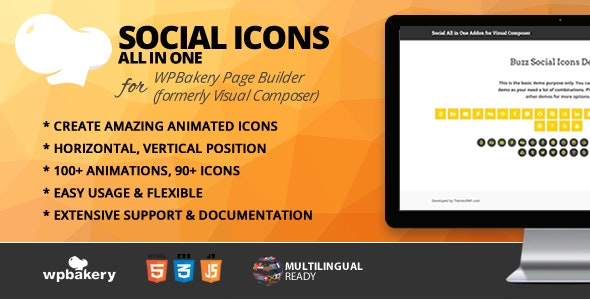 All in One Social Icons Addon for WPBakery Page Builder (formerly Visual Composer) - CodeCanyon Item for Sale