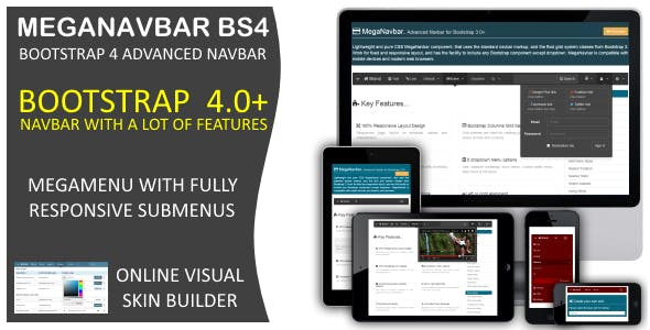 MegaNavbar BS4. (v 1.0.2) Advanced Mega Menu (navbar) for Bootstrap 4.0+