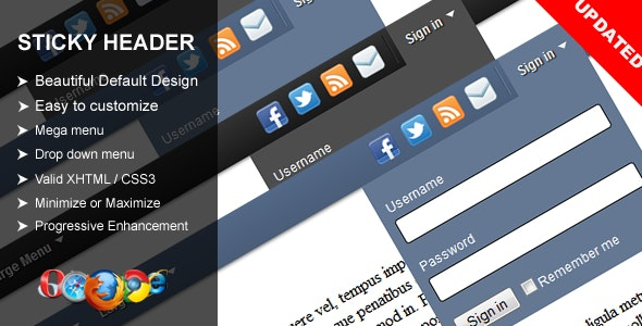 Sticky Header - CodeCanyon Item for Sale
