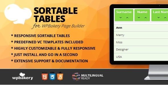 Sortable Tables Addon for WPBakery Page Builder (formerly Visual Composer)