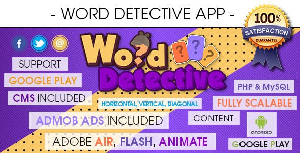 Word Search Detective App With CMS & Ads - Android [ 2020 Edition ]
