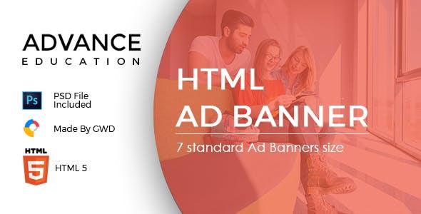 Advance Education  | HTML 5 Animated Google Banner