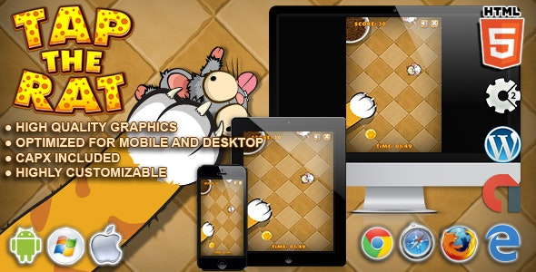 Tap The Rat - HTML5 Construct Tap Game - CodeCanyon Item for Sale