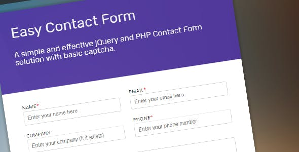 jQuery and PHP Powered Easy Contact Form