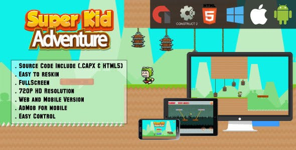 Super Kid Adventure Game - HTML5 - Web + Mobile (HTML5 & CAPX)
