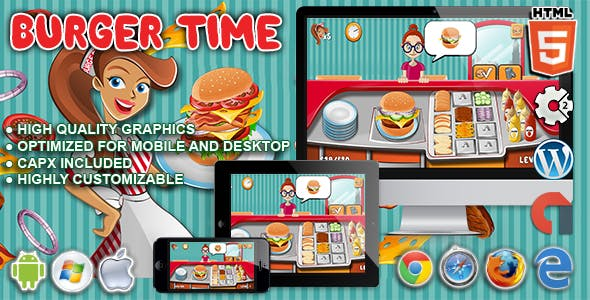 Burger Time - HTML5 Construct Cooking Game