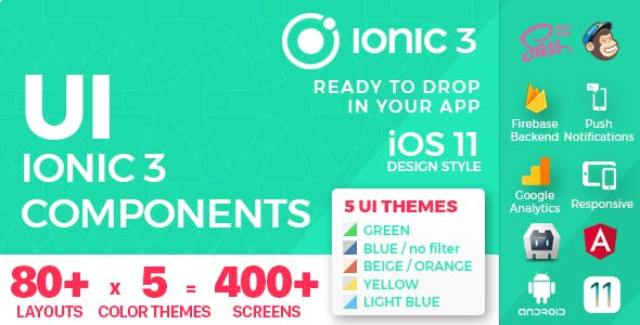 Ionic 3 / Angular 5 UI Theme / Template App - 5 in 1 Multipurpose Starter iOS 12 Style App