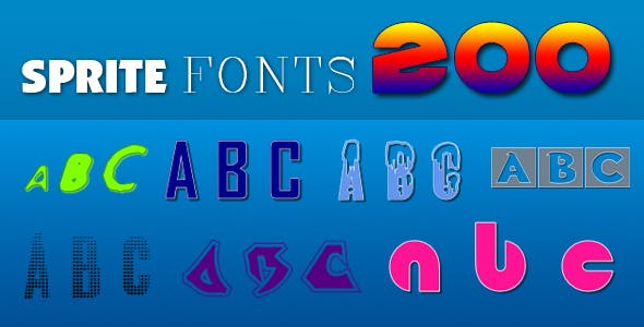 Sprite Fonts 200 (for Construct 2 and 3)