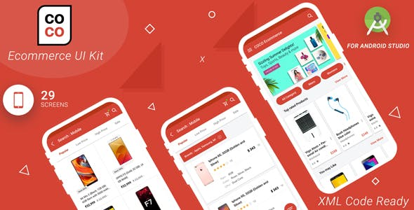 Coco E-Commerce Android app Material UI template With Xml Source Code