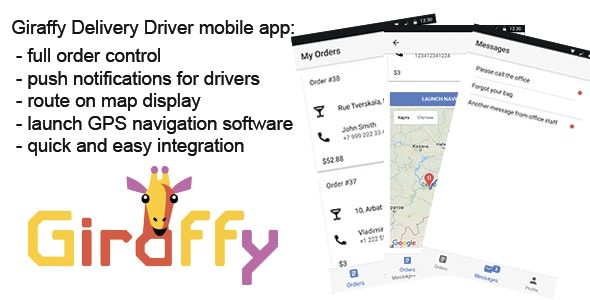 GiraffyDriver - driver mobile app for GiraffyDelivery - CodeCanyon Item for Sale
