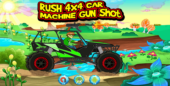 Rush 4X4 Car Machine Gun - Admob Banner & Interstitial (Android Studio Project)