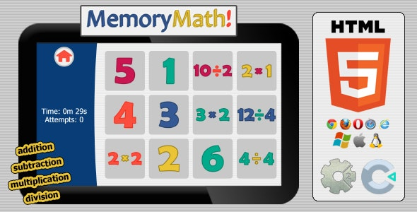 MemMath! - HTML5 Educational Game - CodeCanyon Item for Sale