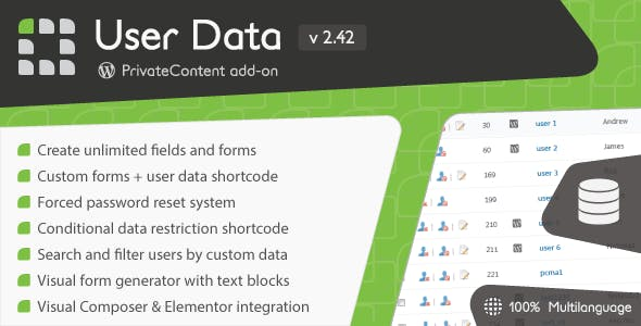PrivateContent - User Data add-on        Nulled