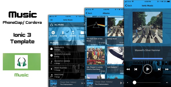 Ionic 3 Music PhoneGap / Cordova Hybrid App Template by