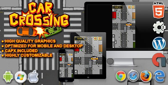 Car Crossing - HTML5 Construct 2 Skill Game