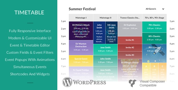 Responsive Timetable for Wordpress - CodeCanyon Item for Sale