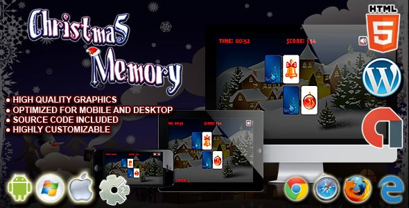 Christmas Memory - HTML5 Construct Puzzle Game - CodeCanyon Item for Sale