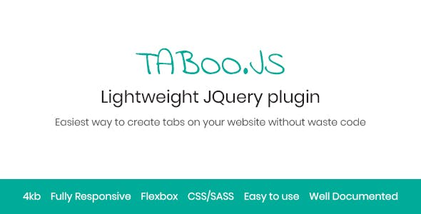 Taboo.js - Lightweight jQuery Plugin to Create Responsive Tabs